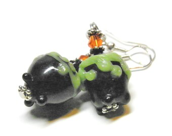 Halloween Earrings, Sterling Silver and Lampwork Glass Bubbling Cauldrons, Halloween Jewelry, Witch Earrings, Witch Jewelry, Wiccan Jewelry
