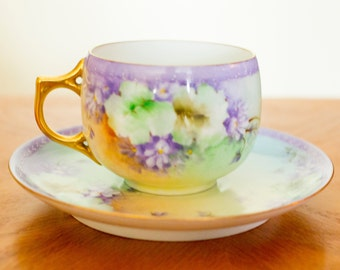 Limoges Tea cup and Saucer Gilded Flowers Embossed Mint 1910 Made in France AK Limoges