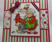 Handmade Card, Greetings, Gift, Christmas, Winter, Art Impressions, Watercolored Mr and Mrs Santa -  Handmade Greeting Card