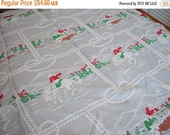 40% OFF Vintage 50s Western Cowboy Cutter Bedspread Coverlet Gray Red Green Twin Size