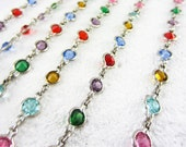 Antique Long Silver Plated Colourful Paste Guard Chain. Rainbow Crystal Rhinestones in Open Back Bezel Settings, 120 cm / 47 inches.
