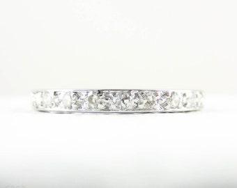 Platinum Diamond Eternity Ring, Art Deco Full Hoop Diamond Wedding Ring, Bead Set Diamonds in Platinum. Circa 1920s, Size K.75 / 5.25.