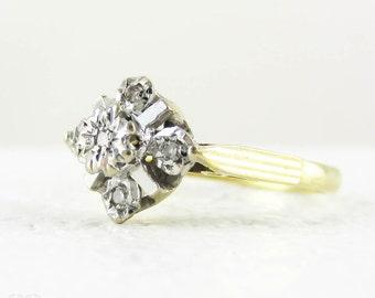 Vintage Diamond Engagement Ring, 5 Stone 1970s Diamond Ring Set in Geometric Shape, 18 Carat White & Yellow Gold.