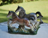 Vintage Ceramic-China-Porcelain Galloping Horses Figurine, Occupied Japan Style, Excellent Condition.