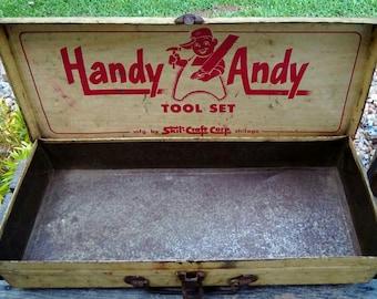 Antique/Vintage Skil Craft Handy Andy Metal Tool Set Box.