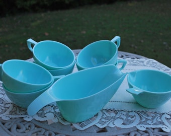 Vintage Aqua Sun Valley Melmac, Eight Piece Set, Retro Kitchen