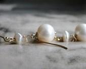 SALE Earrings / Freshwater Pearl 14k Gold Filled / Wedding / Bridal Jewelry / Creamy White Pearl Earrings / 14k Gold Filled Ear Wires