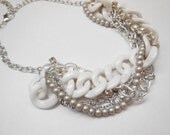 Matte taupe tan white resin chain silver rhinestone twisted chunky statement pearl necklace bridesmaid bridal