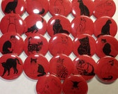 """Red and Black Cats 1.5"""" Pin Back Buttons, Fun Cat Buttons, Cat Buttons, Cat Pins, Cat Pinbacks, Cat Gifts, Cat Decorations, Kitties, Kitty"""
