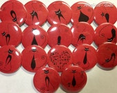"""Stick Cat Red/Black 1.5"""" Pin Back Buttons, Cat Buttons, Cat Pins, Fun Cat Buttons, Cat Pinbacks, Stick Cats, Cat Lovers, Cat Collections"""