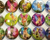 """Fairy Pin Up Girls 1"""" Hollow Back or Pin Back Buttons (Sale on this Listing Only) 15 Buttons, Grown Up Fairies, Adult Fairy, Naughty Fairy"""