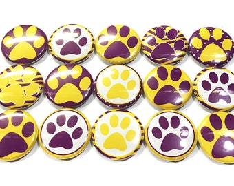 """Purple and Yellow Paw Magnet, 1"""" Button Maget, Tiger, Paw Print Magnet, Paw Print Button, Locker Magnet, Yellow Paw Print, Purple Paw Print"""