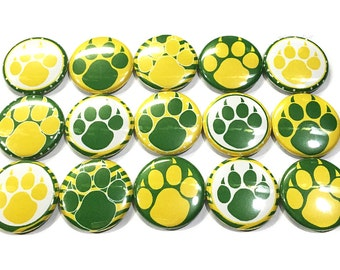 "Green and Yellow Claw Magnet, 1"" Button Magnet, Bear Magnet, Panther Magnet, Claw, Panther Paw, Bear Paw, Green and Yellow Claw, Green Bear"
