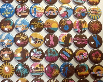 "Surfer 1"" Buttons Hollow Back or Pin Back (Sale on this Listing Only) 49 Buttons, Surf Pins, Surf Parties, Surfer Party Favors, Surf Buttons"