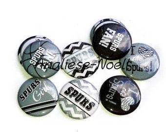"""Spurs Magnet, 1"""" Button Magnet, Spurs Button, Grey Spurs, Spurs Party Favor, Spurs Decor, Spurs Theme, Spurs, Spurs Birthday, Texas Magnets"""