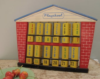 Vintage Wooden Playskool Math Game 1960s Children's Teaching Game Numbers Addition Educational Wood Schoolhouse Learning Game Brenda's Toy