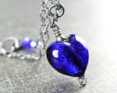 Cobalt Blue Heart Necklace Sterling Silver Authentic Blue Murano Glass Heart Necklace Navy Blue Heart Pendant Blue Venetian Glass