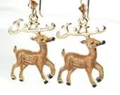 Christmas Reindeer Earrings 14k Gold Fill Winter Holiday Earrings Gift Idea Holiday Jewelry Christmas Earrings Santa Helper