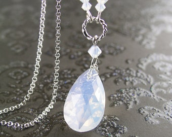 Swarovski Crystal White Opal Necklace Sterling Silver Chain Teardrop Necklace October Birthstone Milky Opal Crystal Pendant Necklace