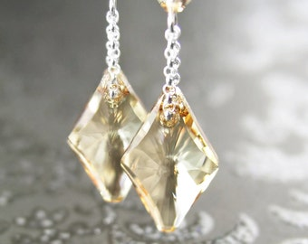 Champagne Crystal Earrings Sterling Silver Earrings Champagne Swarovski Earrings Geometric Golden Diamond Dangle Crystal Champagne Earrings