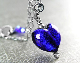 Cobalt Blue Heart Necklace Sterling Silver Authentic Blue Murano Glass Heart Necklace Navy Blue Heart Pendant Blue Venetian Glass