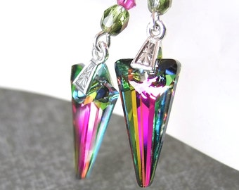 Colorful Pink Green Earrings Sterling Silver Swarovski Crystal Spike Earrings Arrowhead Drop Earrings Green Pink Earrings Prism Jewelry