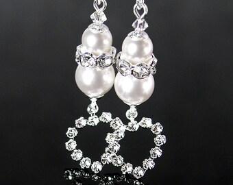 White Pearl Crystal Earrings Sterling Silver Earrings Swarovski White Pearl Earrings Clear Crystal Heart Drop Earrings Sparkly Jewelry