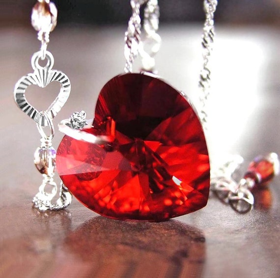 Red heart necklace swarovski red crystal heart necklace like this item mozeypictures Choice Image