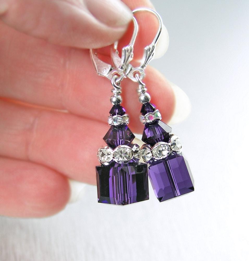 Dark Purple Crystal Earrings Sterling Silver By Dorotajewelry
