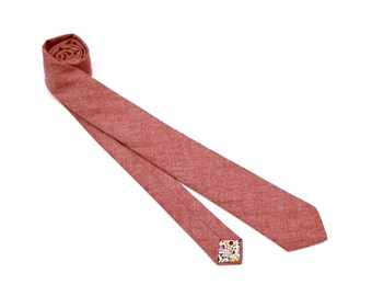 Red Chambray Necktie