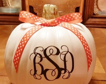 Monogrammed 3 letter Decal - Thanksgiving  - Car Decal- Personalized Pumpkin - Vinyl Decal Stickers - Halloween - Monogrammed Decals