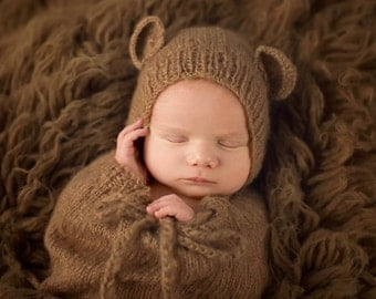 Toffee Brown Teddy Bear Mohair Baby Hat Newborn Photography Prop