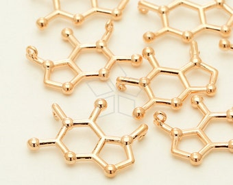 PD-1241-RG / 2 Pcs - Coffee Molecular Pendant, Caffeine Chemistry Charm Necklace, Rose Gold Plated over Brass / 16.6mm x 12mm