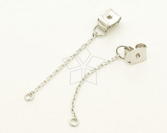 EA-168-OR / 10 Pcs - Ear Studs Back Stoppers with Long Chain and Loop, Silver Plated over Brass / 35mm