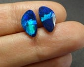 VIDEO: Natural Australian Opal Cabochon Pair  -  12 x 6.5 x 2mm - Opal Doublet  - Matching Pair - CM68