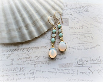 White Opal and Mint Alabaster earrings, Vintage White Opal Jewel earrings, 14k Gold Filled earrings