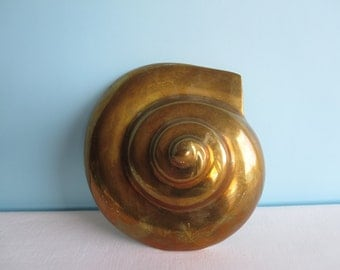 Vintage Solid Brass Shell Wall Hanging