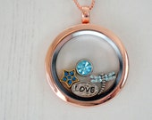 Rose Gold Floating Charms Locket Dragonfly Love