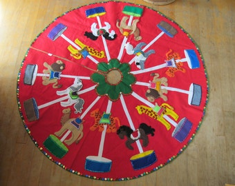 Christmas Tree Skirt Felt Carousel Large 4 Feet Across Circus Animals Handmade in USA