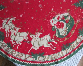 """Vintage Christmas Tablecloth Thin Felt Stamped Santa Claus Reindeer Sled Print Cloth Table Linens Round 33"""""""