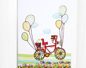 Riding High, Greeting Card, Balloons, Bicycle, 5x7