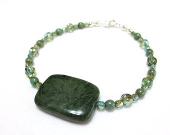 Moss Green Bracelet, Sterling Silver, Turquoise Celsian Czech Glass Beads, Fluted Aquamarine Bracelet, Small Gemstone & Crystal Bracelet