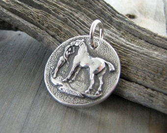 Silver Horse Pendant, Fine Silver Antique Button Reproduction, Draft Horse Pendant, Recycled Silver, Handmade by SilverWishes
