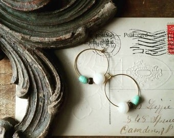 Beaded Hoop Earrings, Small Gold Hoop Earrings Made With Vintage White and Mint Green Beads, Shabby Chic Jewelry for Women