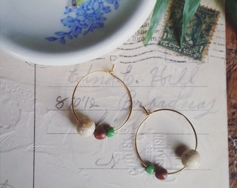 Beaded Hoop Earrings, Small Gold Hoops Made With Vintage Beads, Eco Friendly Bohemian Jewelry for Women