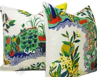 Schumacher Pillow Covers - Citrus Garden -  Set of TWO - Josef Frank - 20X20 - linen - floral - butteflies - made to order