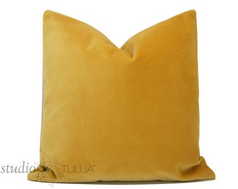 Yellow Velvet Pillow Cover - Pick your size - designer quality - saffron yellow - heavy weight velvet - made to order