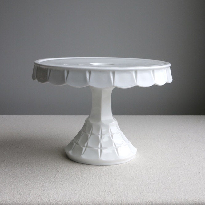 Special Price Vintage Milk Glass Cake Stand By Indiana