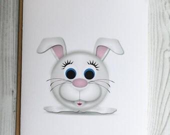 Lil' Bunny Card, Invitation, Blank Card, Greeting Card, All Occasion Card