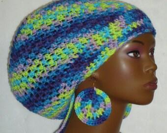 Dollisa Crochet Large Tam Cap Hat with Drawstring and Earrings Dreadlocks Rasta Tam by Razonda Lee Razondalee Ready to Ship